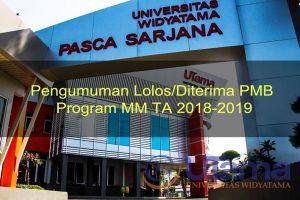 Pengumuman Lolos/Diterima PMB Program MM TA 2018-2019